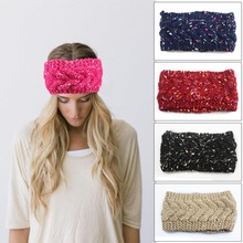 NEW Christmas Crochet Headband colorful Knit hairband Flower Winter Women Ear Warmer Headwrap Drop shipping