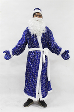 2017 NEW 5pcs/set Christmas Santa Claus Costume Russia Christmas Santa Claus Costumes Blue Snowflake Cosplay Clothing For Adult(China)