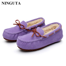 Fashion Genuine Leather Wool inside winter flat shoes woman warm women loafers flats fur inside