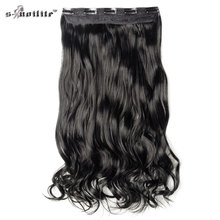 SNOILITE 29 inch Curly 5 Clips in Hair Extensions Real Synthetic Natural Colors Cosplay Hair For Black Women Styling Hairpiece(China)