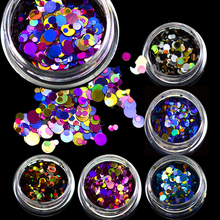 1g Hot Beauty Deep Mixed Mini Round Thin Nail Art Glitter Paillette 3d Nail Decorations Laser Shinning Tips P1-7