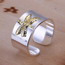2013 women plated free shipping fashion brand Name cute Dragonfly Engave open mouth finger Ring jewelry resizable R011