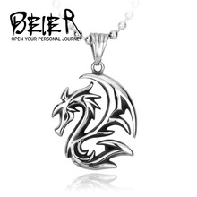 Beier Wholesale Vintage Winged Dragon Pendant Necklace For Girl Boy Stainless Steel No Fade Jewelry BP8-035(China)