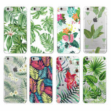 2016 Palm Tree Leaves Tropic Summer Floral  Fashion Soft TPU Printed Phone Case Cover For iPhone 4 5 6 7 S Plus SE 5C
