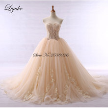 Contrast Color Elegant Strapless A-Line Champagne Wedding Dress Cohapel Train Customs made Bride robe de mariage(China)