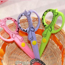 DIY Cute Kawaii Cartoon Plastic Safe Scissors For Paper Scrapbooking Kids Gift Korean Stationery Free Shipping 1403