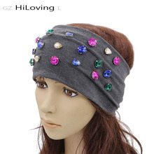 GZHilovingL New 2017 women Headband Soft Cotton Diamond Hairband Headbands Solid color Women Ladies Wide Hair Band Accessories