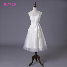 Buy Vestido De Noiva 2018 Short Wedding Dresses A-line Tea Length Tulle Appliques Lace Cheap Wedding Gown Bridal Dresses for $75.05 in AliExpress store
