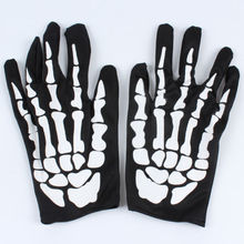 New Adults Skeleton Gloves Black&White Bones Hands Unisex Halloween Costume Reaper Unique Design Mittens(China)