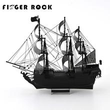 Finger Rock Colorized Black Pearl Metal 3D Puzzle Pirates of the Caribbean Model Children DIY Assembly Toys Jigsaw for Adult(China)