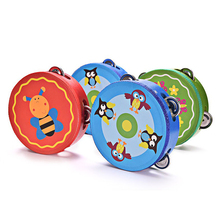 Baby Wooden Drum Rattles Kids Early Educational Musical Instrument Toy Child Hand Held Tambourine Toy Random Color(China)