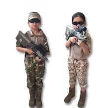 Kids Outdoor Airsoft Camouflage Uniforms Clothing Sets Children Boy Girl Fitted Army Short Sleeve Shirt Top Pants Training Suit(China)