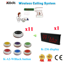 Wireless Table Service Bell System Restaurant Equipment Kitchen For Hotel KTV Hospital 433.962MHZ(1 display+11 call button)(China)