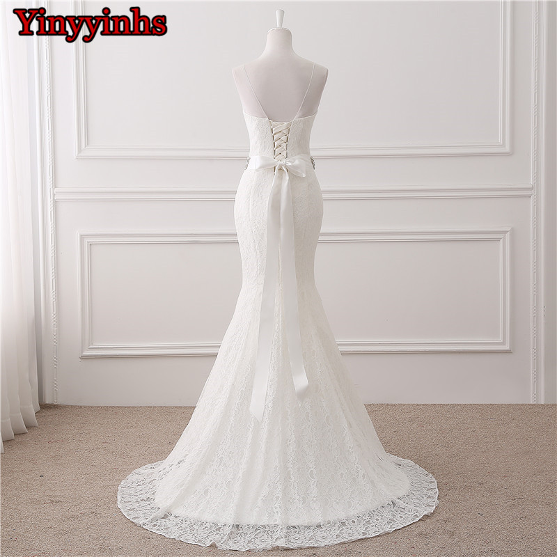 In Stock Real Photos Wedding Gown White Lace Cheap Mermaid Wedding Dress 2018 Vestido De Noiva SweepTrain Bridal Gowns GHS01 2