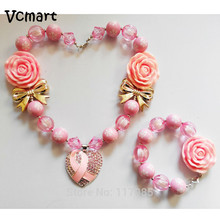 Vcmart Sweet Heart Kids Necklace Braclet Pink Rose Flower Chunky Bubblegum Beads Necklace Baby Toddler Valentine's Day Gift