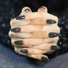 New Arrival 24pcs False Nails Black Artificial Nails With Metal side Dark Grey Pointed Full Cover Fake Nails Z342(China)