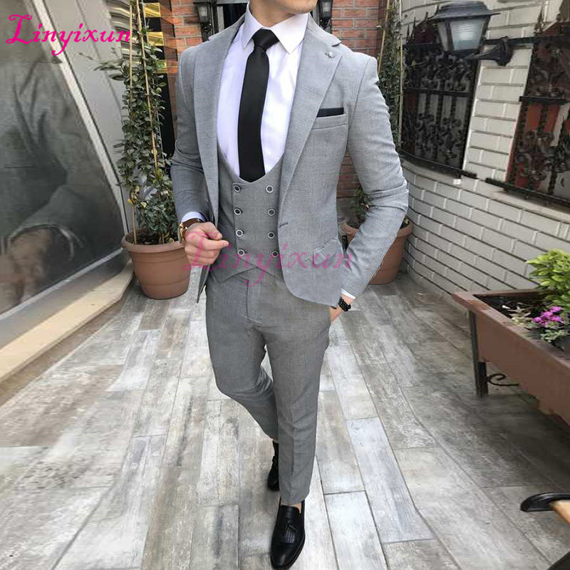 Linyixun Latest coat pants designs elegant grey men suits double breasted vest slim fit suit for business wedding classic tuxedo