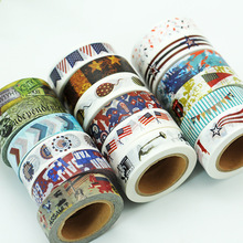 1.5cm * 10m US National Day Series Decorative DIY Scrapbook Mask Technology Tape School Office Supplies Supply Stationery Tape