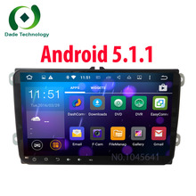FREE SHIPPING Quad Core 1024*600 Android 5.1.1 16GB ROM 2Din Car DVD GPS Navigation Navigator Radio Player For VW Skoda Octavia