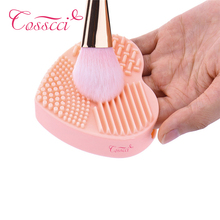COSSCCI Colorful Heart Shape Clean Make up Brushes Wash Brush Silica Glove Scrubber Board Cosmetic Cleaning Tools BF37