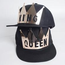 Bling street fashion Plate Rivets Crown King Queen hip hop caps men women gorras bone baseball snapback lovers hat Y3(China)