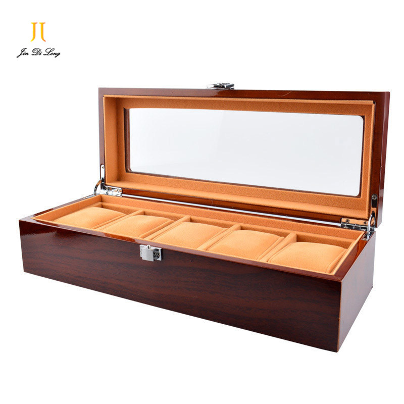 High Quality Luxury Solid Wood Rosewood Watch Boxes 5 Grids Watch Cases Watch Display Packaging Gift Box for Watches<br><br>Aliexpress