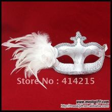 48pcs Hot seller Wedding Mask Wholesale White Silver Venetian Feather masks Free Shipping A021-WS