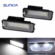 2Pcs/Set SUNKIA Canbus Error Free White 18SMD LED Number License Plate Lights For SEAT Altea Exeo/ST Ibiza Leon Free Shipping(China)