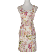 Women Housewife Cotton Bib Apron Restaurant Home Kitchen Cooking Retro Floral Aprons With Two Pockets #10(China)