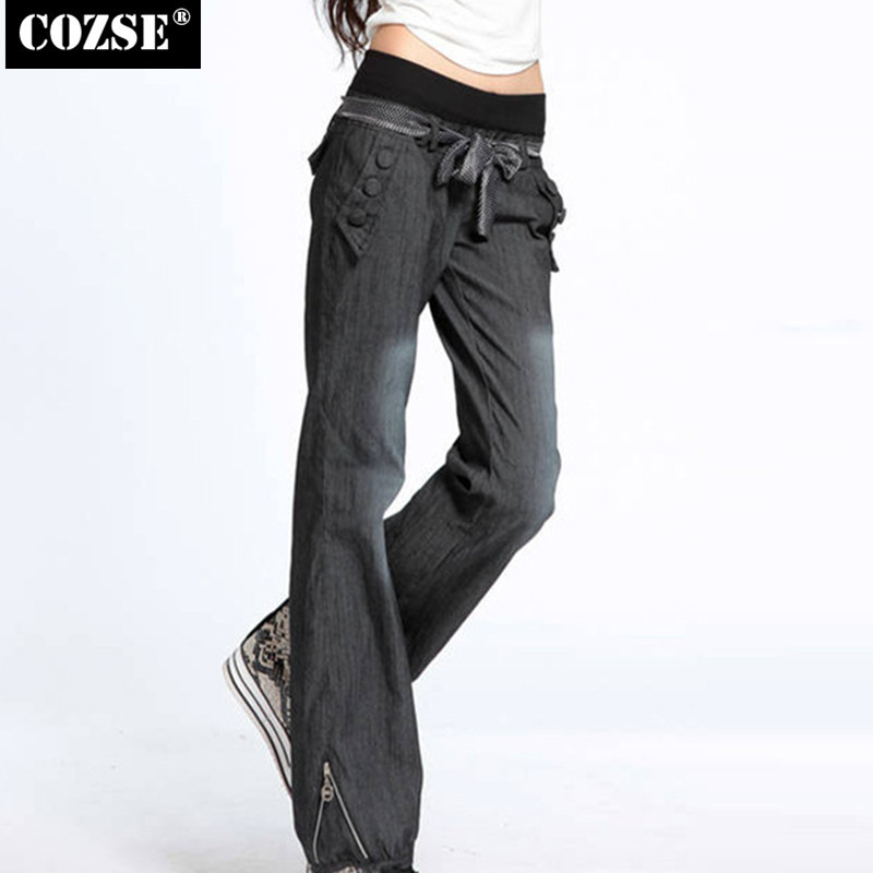 New 2016 Autumn Leisure Wide-Legged Pants Women Jeans Elastic Waist Female Trousers Women Free Shipping H8654Одежда и ак�е��уары<br><br><br>Aliexpress