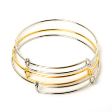 Hot Selling Gold/Rhodium Plated Adjustable Expandable Iron Bangle Bracelet Fashion Wire Bracelets for Women Jewelry