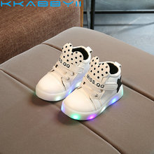 KKABBYII Girls Shoes Spring Autumn Lighted Stars Breathable Fashion Baby Girls Sneakers Kids Shoes Chaussure Led Enfant
