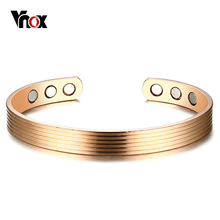 Buy Vnox Elegant Women Bangle Magnetic Health Care Heal Eliminating Fatigue Cuff Bracelet Bio Energy Power Female Lady Jewelry for $5.99 in AliExpress store