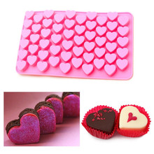 Silicone Mold 55 Hole Heart Shaped Mould to Make Candy Mold Chocolate Brown Sugar and Ice Mold A057(China)