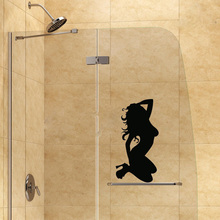 Sexy Beauty Silhouette Of The Bathroom Glass Vinyl Toilet Door Vinyl Stickers 2WS0044