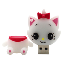 Newest cheap White cat model pendrive 4GB 8GB 16GB 32GB 64GB USB flash drive thumb pen drive Personality gift(China)