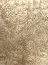 Off White Rosette fabric, Chiffon rosette fabric,  Wedding Dress Bridal Gown Fabric Supplies 1 yard