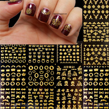 BORN PRETTY 3D Nail Sticker 1 Sheet 12pcs Gold  Heart Crown Bowknot Butterfly Flower Patterns Nail Art Decoration Stickers