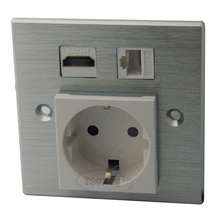 Aluminum HDMI RJ45 AC power with EU style wall plate and support customer design(China)