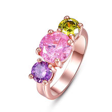 Rose Gold Round Amethyst Shallow Pink & Green Purple CZ Cabochon Finger Rings For Women Girls Engagement Party Costume Jewelry