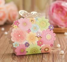Free shipping wishmade brand pink colorful favor box flower butterfly elegant wedding candy box 50pcs/lot