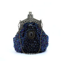 Navy Blue Ladies' Beaded Sequined Banquet Wedding Evening Bag Clutch handbag Bridal Party MakeupBag Purse Free Shipping 03321-F(China)