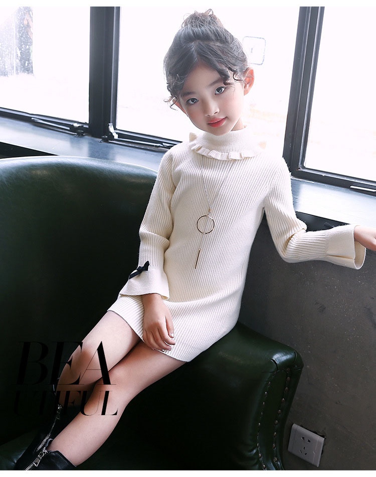 high neck knitting girls sweater dress kids clothes long sleeve knitted red black white autumn winter kids sweater knit tops 5 6 7 8 9 10 11 12 13 14 15 16 years little teenage big girls white girls dresses (11)