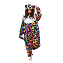 Polar Fleece Cute Spotted Leopard Costume Women Men Unisex Onesies for Adults Couple Pajamas All In One Home Sleepwear Pyjamas(China)
