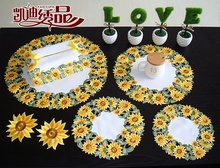 Golden Sunflower Garden Simple High-grade Embroidered Tablecloths Coffee Table Towel Table Runner Cover Towel Big Size A-74