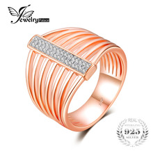 Feelcolor Luxury Rose Gold Plated Rings 925 Sterling Silver Women Fashion Vintage Party Wedding Fine Jewelry New