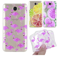 New Summer Fruit Fashion Girls Transparent Silicone Soft TPU Cases for Huawei Y5 ll Y6 ll Compact P9 Lite Flamingo Phone Covers