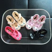 hot 2017 fashion Mini Melissa fine Cat Head Girls Princess Shoes kids Breathable Jelly Shoes children Baby soft Sandals 15-18cm