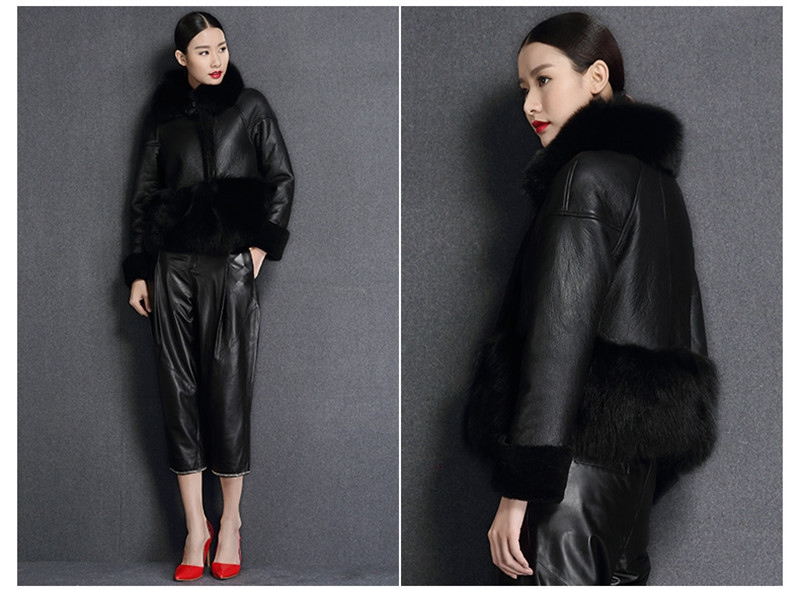 genuine sheep leatherskin jacket fox fur cooar coats (6)