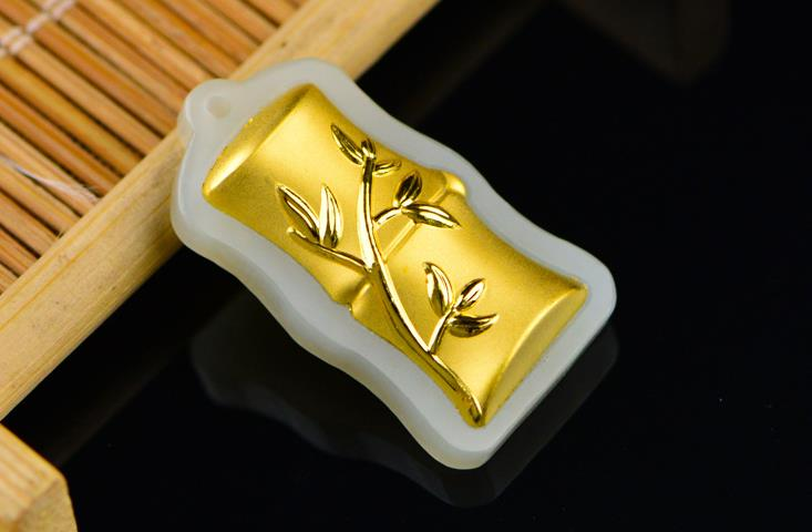 3D gold inlaid natural Hetian jade section high pendant H104#